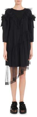 Simone Rocha Round-Neck 3/4-Sleeve T-Shirt Dress w/ Ruffled Tulle Overlay