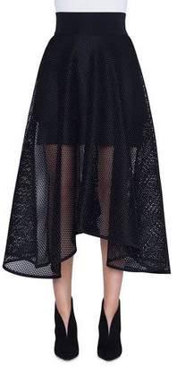 Akris Long Techno Grid A-Line Skirt