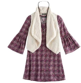My Michelle Girls 7-16 Faux-Fur Vest & Bell Sleeve Dress Set with Necklace