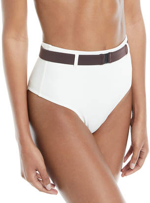 Neiman Marcus Solid And Striped Josephine Belted High-Waist Swim Bikini Bottoms