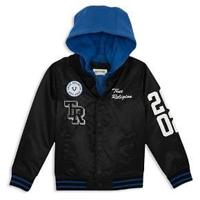 True Religion Boys' Hooded Varsity Bomber Jacket - Little Kid, Big Kid