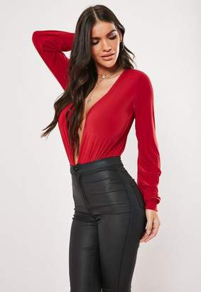 Missguided Red Deep Plunge Long Sleeve Bodysuit