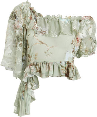 Preen by Thornton Bregazzi Ruffle Collar Asymmetrical Floral Blouse