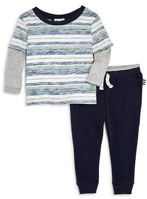 Splendid Boys' Reverse-Stripe Layered Tee & Jogger Pants Set - Baby