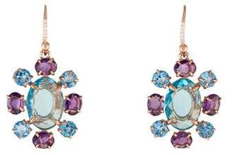 Bounkit Amethyst & Crystal Drop Earrings