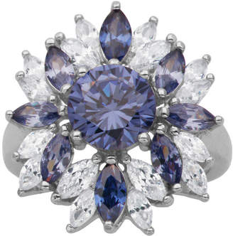 FINE JEWELRY DiamonArt Sterling Silver SimulatedTanzanite & White Cubic Zirconia Flower Cluster Ring