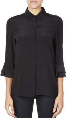 Tory Burch Silk Black Shirt With Ruffled Cuffs