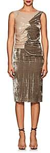 Nina Ricci WOMEN'S RUCHED MIXED-MEDIA COCKTAIL DRESS-BEIGE, TAN SIZE 38 FR