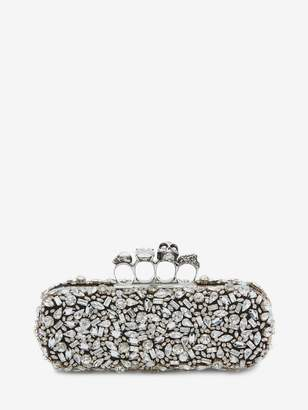 Alexander McQueen Crystal Skull Four Ring Box Clutch