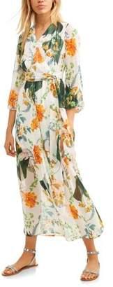 Paper Tee Juniors' Floral Chiffon Faux-Wrap Maxi Dress