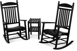 Polywood 3-piece Jefferson Outdoor Rocking Chair & Side Table Set
