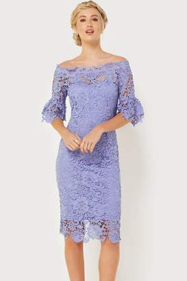 Paper Dolls Outlet Blue Crochet Bardot Dress