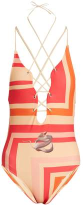 Katie Eary Geo-print lace-up swimsuit