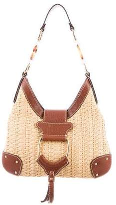 Dolce & Gabbana Leather-Trimmed Straw Hobo