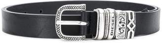 Diesel buckle embellished narrow belt