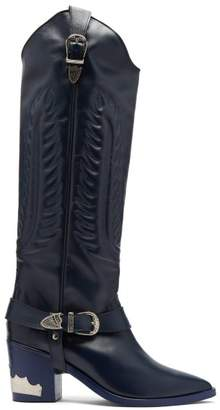 Toga Leather Knee High Boots - Womens - Navy