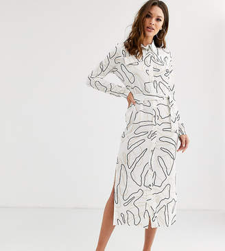Asos Tall DESIGN Tall midi belted shirt dress in print