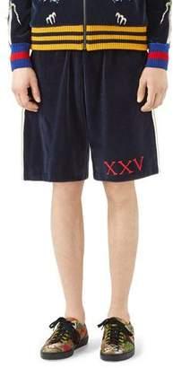 Gucci Velvet Jersey Shorts with Gothic Gucci Appliqué $920 thestylecure.com