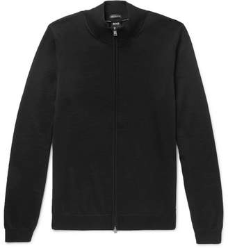 HUGO BOSS Balonso Virgin Wool Zip-Up Cardigan - Black