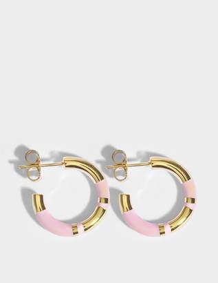 Aurelie Bidermann Positano Mini Hoop Earrings in Baby Pink 18K Gold-Plated Brass