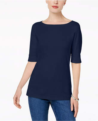 Karen Scott Petite Elbow-Sleeve Top