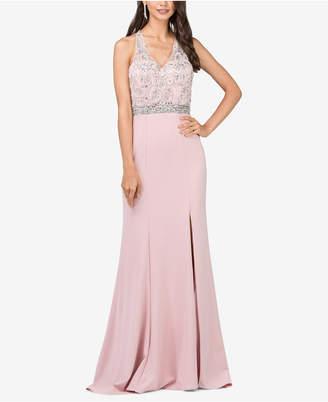 Dancing Queen Juniors' Embellished Side-Slit Column Gown