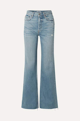 GRLFRND Carla Distressed High-rise Flared Jeans - Light denim