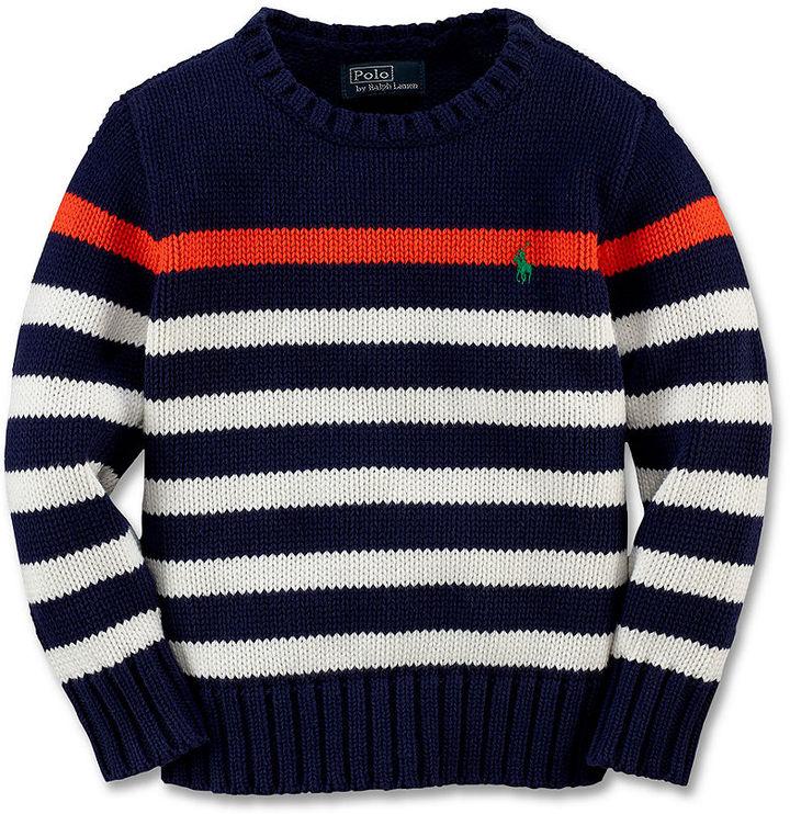 Ralph Lauren Sweater, Little Boys Striped Crew Neck Sweater