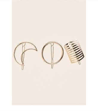 Dynamite 3 Pack Geometric Hair Clips Gold