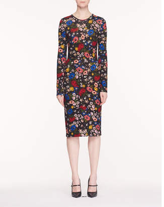 Erdem Eileen Jewel-Neck Long-Sleeve Lismore Garden-Print Ponte Jersey Sheath Dress