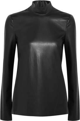 Joseph Vienna Faux Leather Turtleneck Top - Black