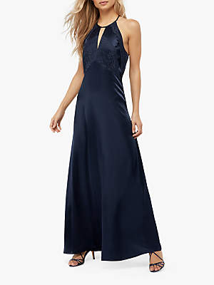 Monsoon Rhea Satin Lace Maxi Dress, Navy