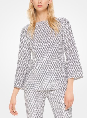Michael Kors Geometric Sequined Stretch-Tulle Tunic