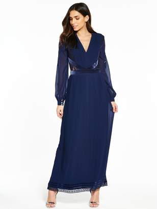 Little Mistress Long Sleeve Maxi Dress - Navy