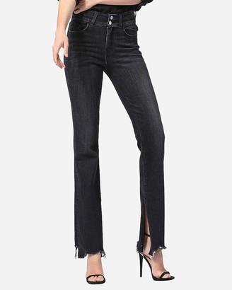 Express Flying Monkey Black High Waisted Raw Hem Flare Jeans
