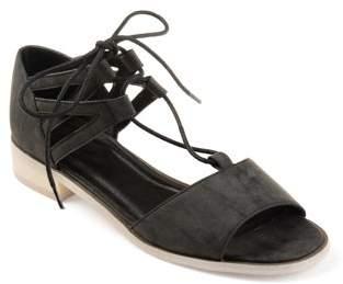 Brinley Co. Womens Faux Nubuck Criss-cross Lace-up Sandals