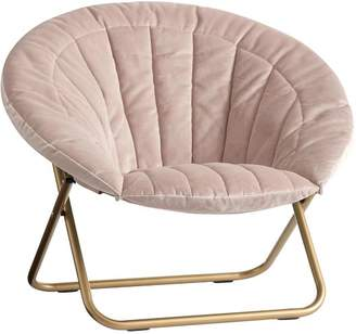 Pottery Barn Teen Dusty Blush Lustre Velvet Channel Stitch Hang-A-Round Chair