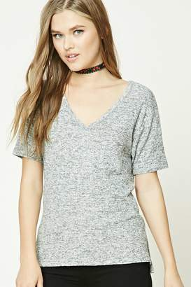Forever 21 Marled Knit V-Neck Top