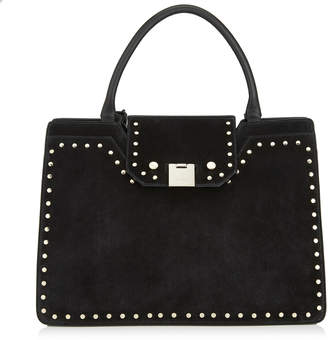 Jimmy Choo REBEL TOTE Black Suede Tote Bag with Round Studs