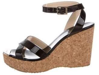 Jimmy Choo Patent Leather Peep-Toe Sandals