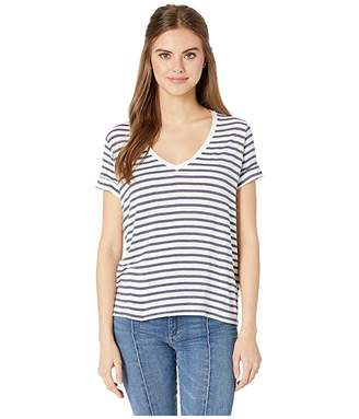 Majestic Filatures Soft Touch Stripe Short Sleeve Flat-Edge V-Neck Tee with Back Pleat