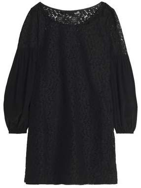 Love Moschino Cotton-Blend Lace And Crepe Mini Dress