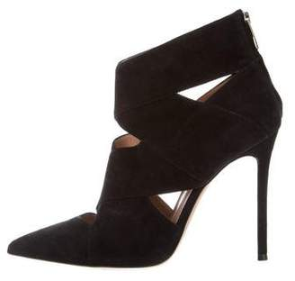 Gianvito Rossi Suede Cutout Ankle Boots