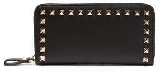 Valentino Rockstud Leather Continental Wallet - Womens - Black