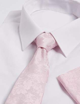 Marks and Spencer Pure Silk Floral Tie & Pocket Square Set