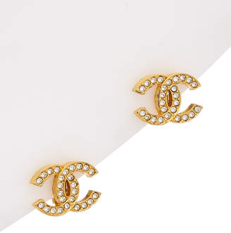 Chanel Gold-Tone & Crystal Cc Earrings