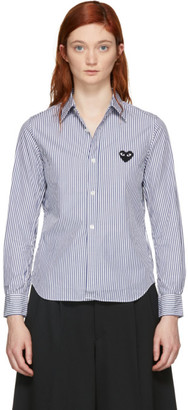 Comme des Garcons Blue and White Striped Heart Patch Shirt