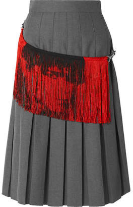Calvin Klein Fringed Distressed Pleated Twill Skirt - Gray
