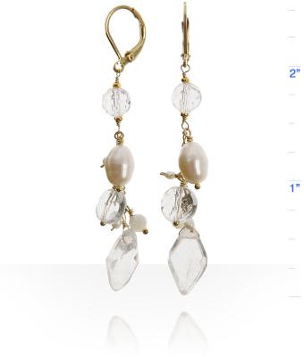 Mashka crystal pearl linear cluster earrings