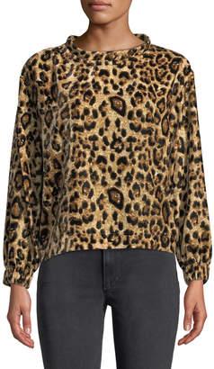 Velvet by Graham & Spencer Velvet Leopard-Print Long-Sleeve Top